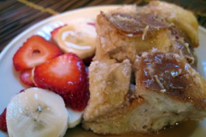 Coconut and Banana Overnight Baked French Toast