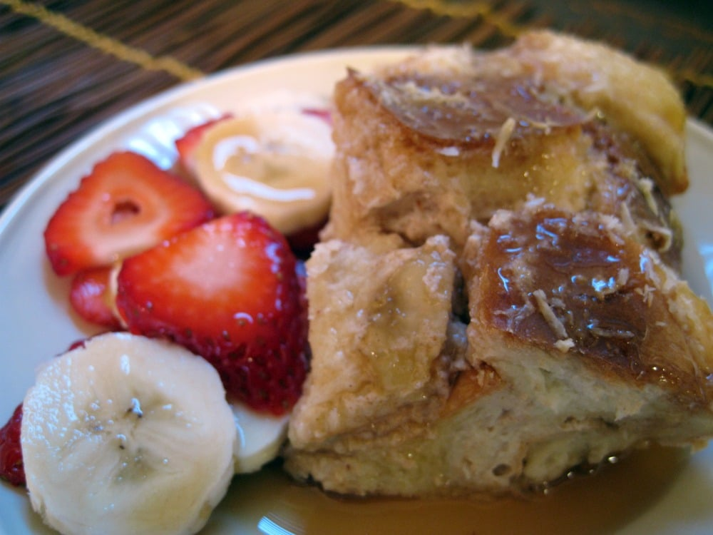 Coconut and Banana Overnight Baked French Toast from www.EverydayMaven.com