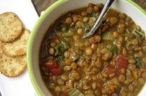 bowl of slow cooker lentil soup
