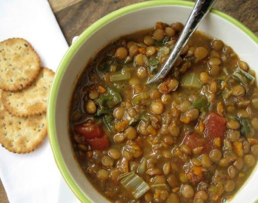 bowl of slow cooker lentil soup