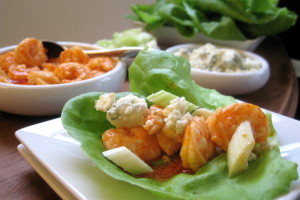Buffalo Shrimp Lettuce Wraps