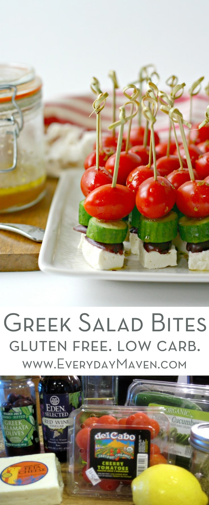 Greek Salad Bites are made with simple ingredients and have big flavor. A fun appetizer that is naturally low carb, gluten free and vegetarian!are made with simple ingredients and have big flavor. A fun appetizer that is naturally low carb, gluten free and vegetarian!