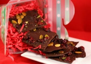 Salted Dark Chocolate Holiday Bark with Pistachios and Cranberries from www.everydaymaven.com