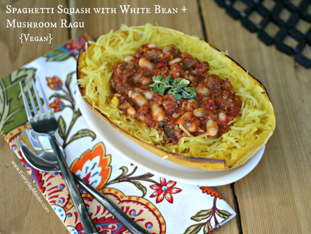 Roasted Spaghetti Squash with Mushrooms from www.everydaymaven.com
