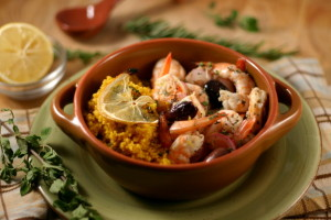 Baked Shrimp with Olives + Lemon over Saffron Couscous