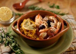 Baked Shrimp with Olives and Lemon over Saffron Couscous