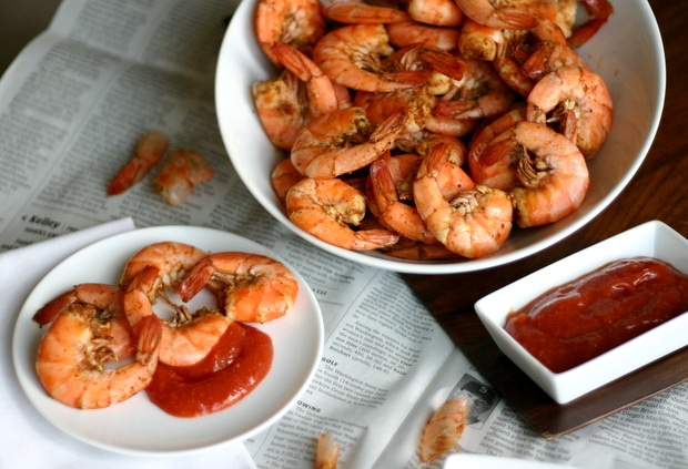 Old Bay Peel 'N Eat Shrimp + Cocktail Sauce