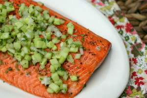 The Food Matters Project: Grilled Salmon with Cucumber + Sweet Onion Salsa