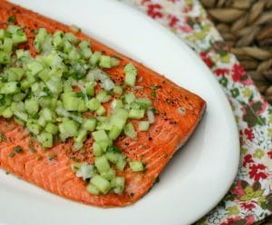 Grilled Salmon with Cucumber Salsa from www.everydaymaven.com