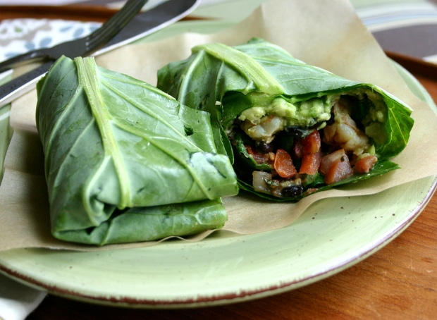 How to use a large collard green leaf as a burrito wrapper! Naturally gluten and grain free!