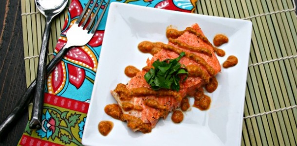 Baked Salmon with Romesco Sauce from www.everydaymaven.com