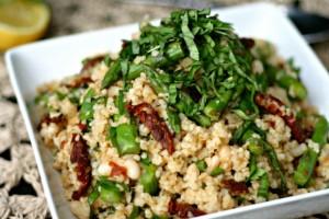 Bulgur, Beans, Asparagus + Sun Dried Tomato Salad