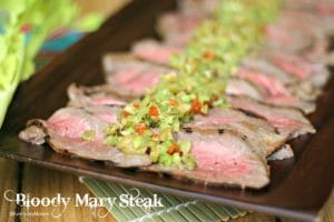 Bloody Mary Steak with Celery + Olive Tapenade