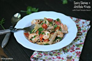 Spicy Shrimp and Artichoke Pasta with Fresh Tomato Sauce