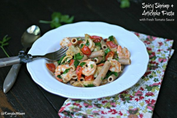 Spicy Shrimp and Artichoke Pasta from www.everydaymaven.com