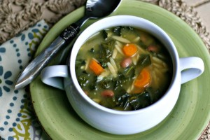 Double Greens and Orzo Soup {Vegan}