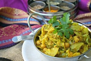 Punjabi Style Cabbage + Chickpeas