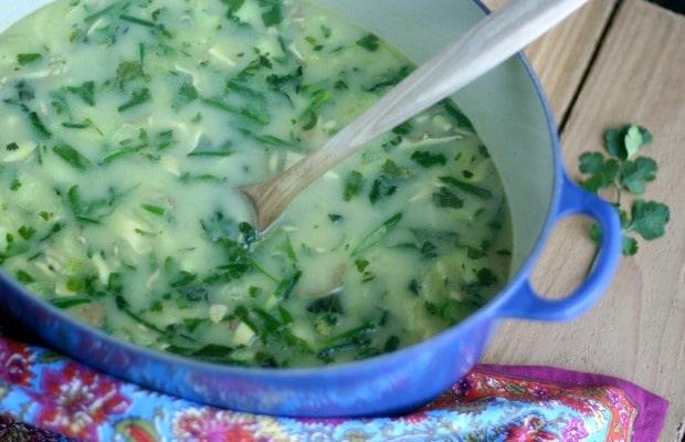large blue pot of flu fighter soup