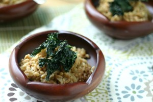 Farro + Caramelized Onions with Crispy Kale