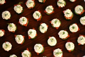 Persian Cucumber Bites with Lox + Dill Cream Cheese