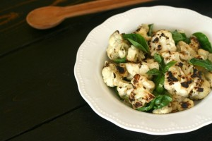 Grilled Cauliflower with Basil and White Balsamic Vinegar