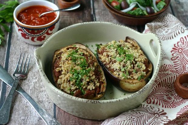 Paleo Stuffed Eggplant {with Ground Beef}