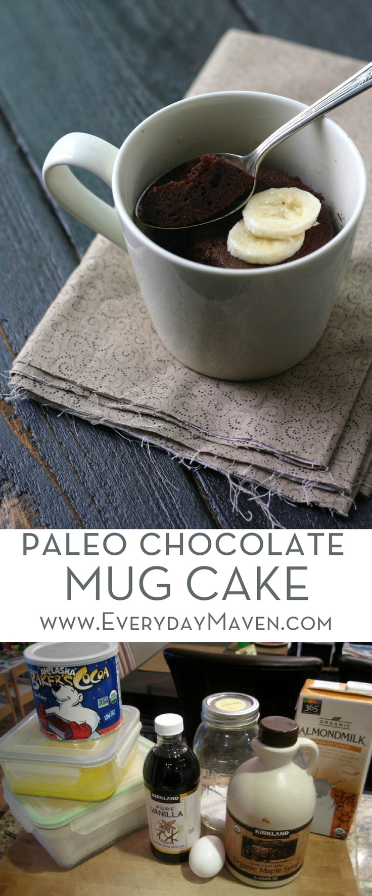 This delicious and easy to make Paleo Chocolate Mug Cake satisfies your sweet tooth and can be made in under 5 minutes! A single serving dessert recipe you will make over and over again!