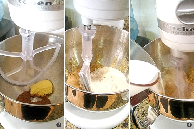step by step photos to make gluten free blueberry muffin batter in a stand mixer