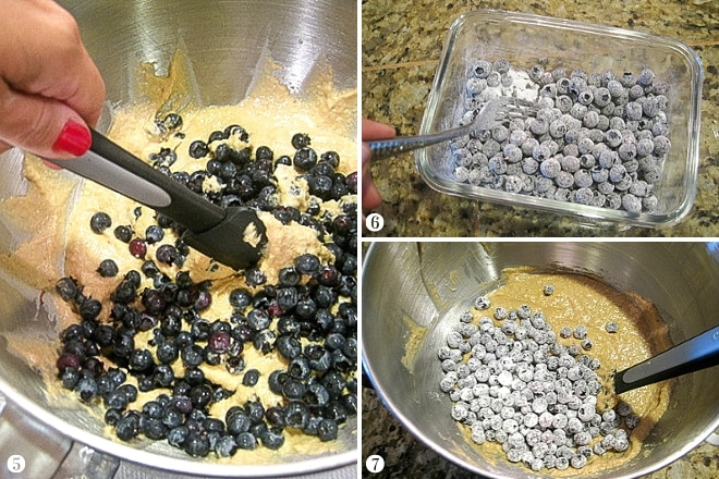 folding fresh and frozen blueberries into gluten-free muffin batter for blueberry muffins