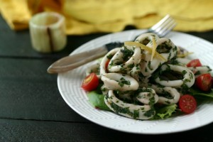 Herbed Calamari Salad with Preserved Lemons for Liz's Baby Shower!