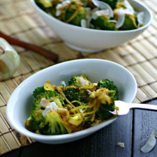 Spicy Curried Broccoli with Toasted Coconut