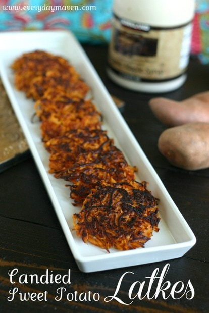 Candied Sweet Potato Latkes from www.everydaymaven.com