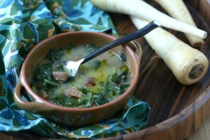 Creamy Parsnip Soup with Sausage and Greens