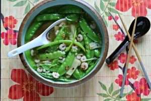Quick Shrimp and Snow Pea Soup with Ginger