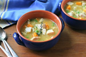 Turkey Soup with Sweet Potatoes and Peas from www.everydaymaven.com