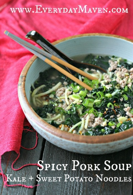 "Spicy Pork Soup with Kale and Sweet Potato ""Noodles"" from www.everydaymaven.com"
