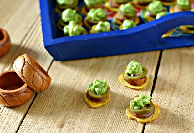 Plantain Chips with Chorizo, Guacamole and Pickled Jalapeños