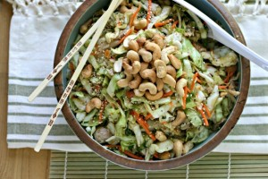 Asian Cabbage Slaw with Chicken and Roasted Cashews from www.EverydayMaven.com
