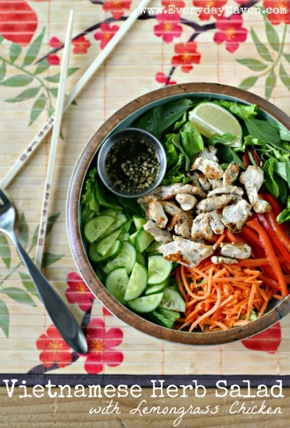 Vietnamese Herb Salad with Lemongrass Chicken from www.EverydayMaven.com
