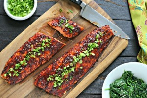 Spicy Glazed Salmon from www.EverydayMaven.com