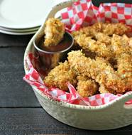 Potato Chip Crusted Chicken Fingers from www.EverydayMaven.com