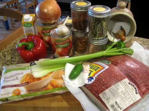 pile of ingredients to make butternut squash chili with beef