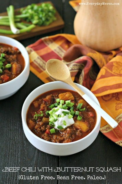 Butternut Squash Chili with Beef. Bean Free, Whole30 and Paleo