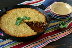 Skillet Chili Pie with Cornbread Topping (Gluten Free, Can Be Dairy Free)