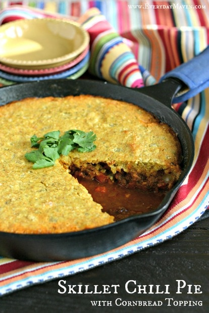 Skillet Chili Pie with Cornbread Topping from www.EverydayMaven.com