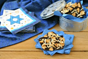Homemade Hanukkah Candy Bark with Slivered Almonds and Dried Apples