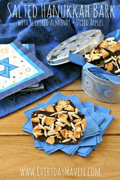 Homemade Hanukkah Candy Bark with Slivered Almonds and Dried Apples from www.EverydayMaven.com