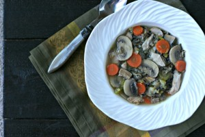 Turkey and Wild Rice Soup with Leeks and Mushrooms
