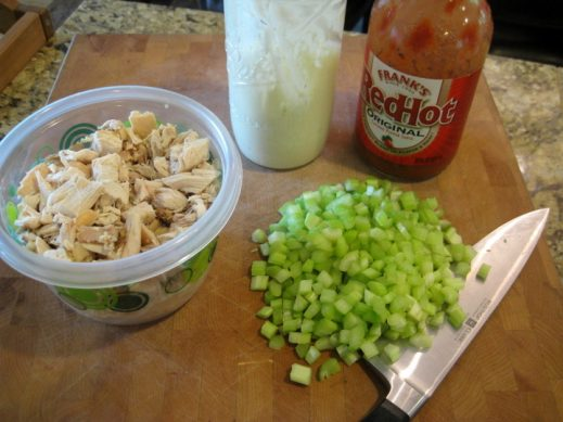 prepped ingredients to make Buffalo Chicken Salad