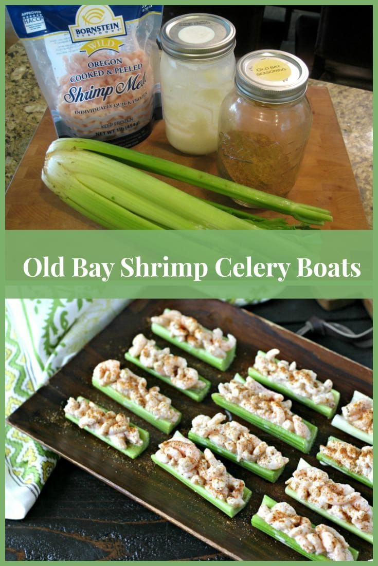 Old Bay Shrimp Celery Boats  #oldbay #shrimp #appetizer #shrimpsalad #shrimpappetizer #whole30 #paleo